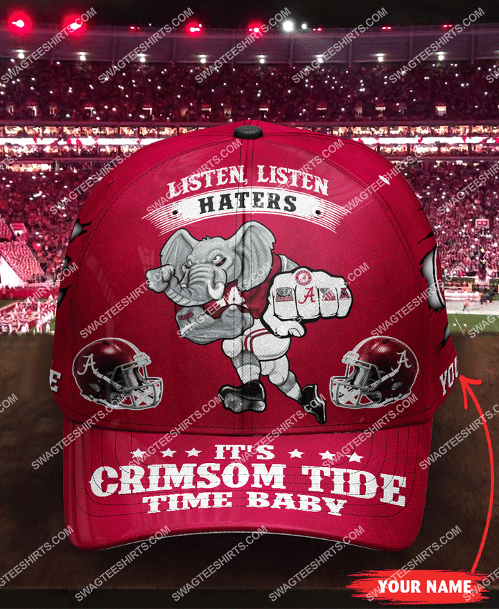 [highest selling] custom name listen haters it's crimson tide time baby full printing cap - maria