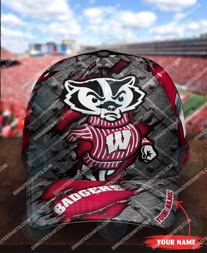 [highest selling] custom name wisconsin badgers football full printing cap - maria