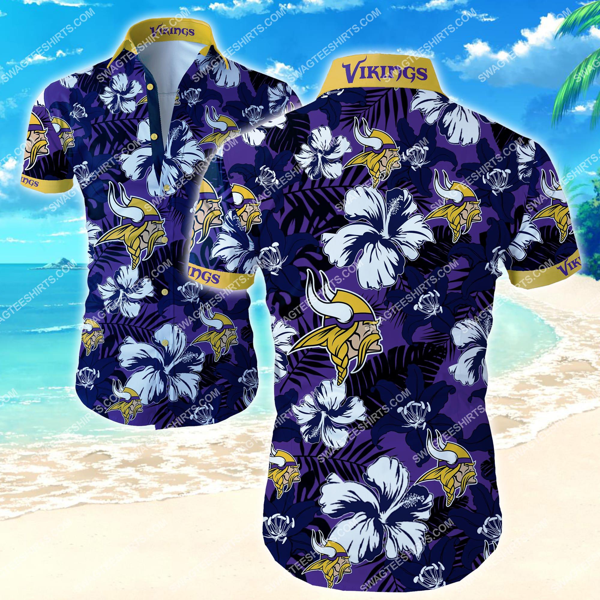 Minnesota Vikings Football Sport Floral Beach Short Sleeve Hawaiian Shirt S-5XL
