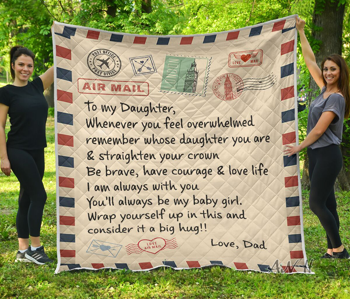 Letter air mail to my daughter love dad quilt blanket