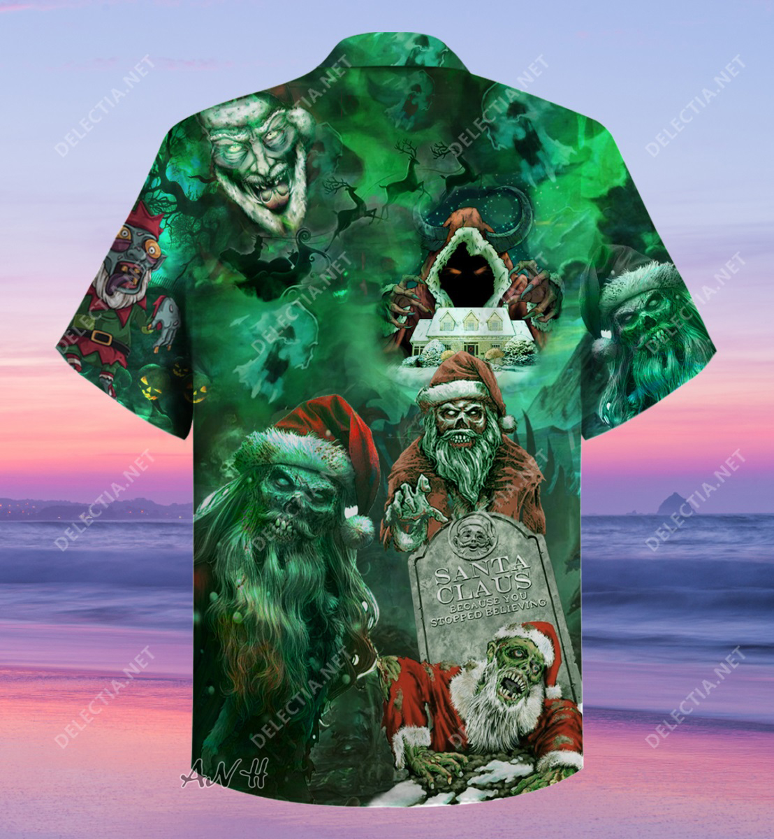 Zombie santa claus because you stopped believing unisex hawaiian shirt