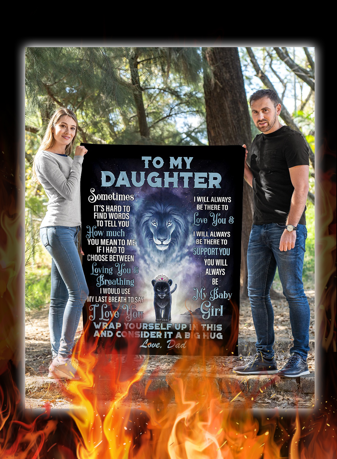 Lion to my daughter love dad blanket