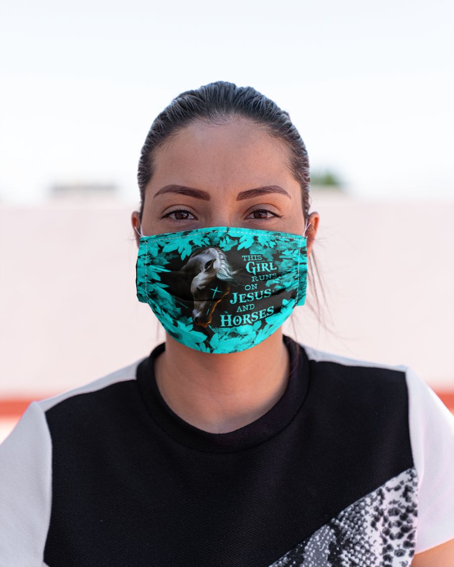 The girl runs on jesus and horses face mask