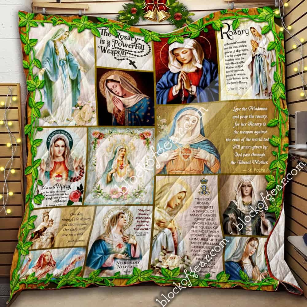 Our Lady of the Rosary quilt blanket