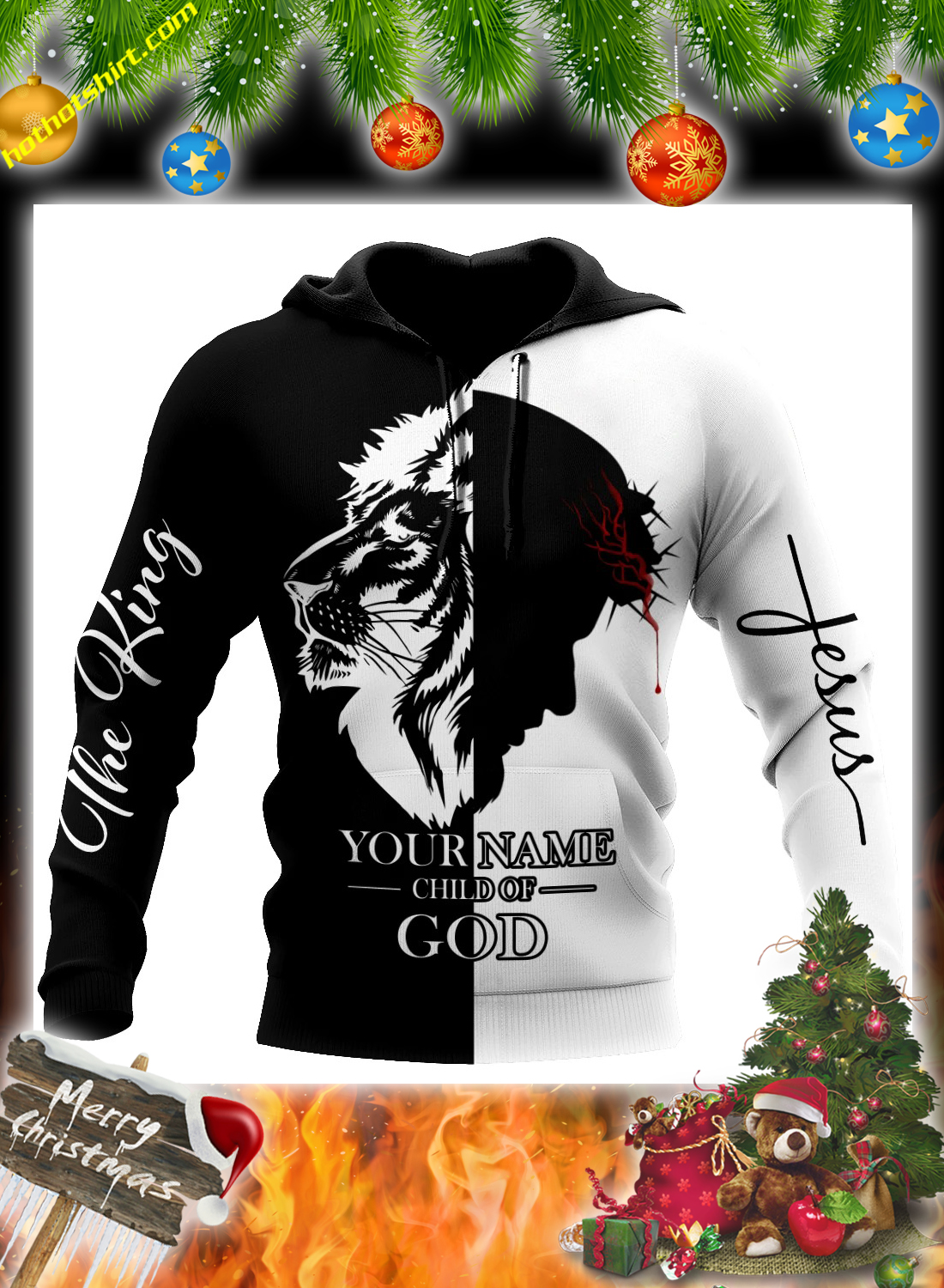 Personalized customize name Jesus the king child of god 3d hoodie and shirt