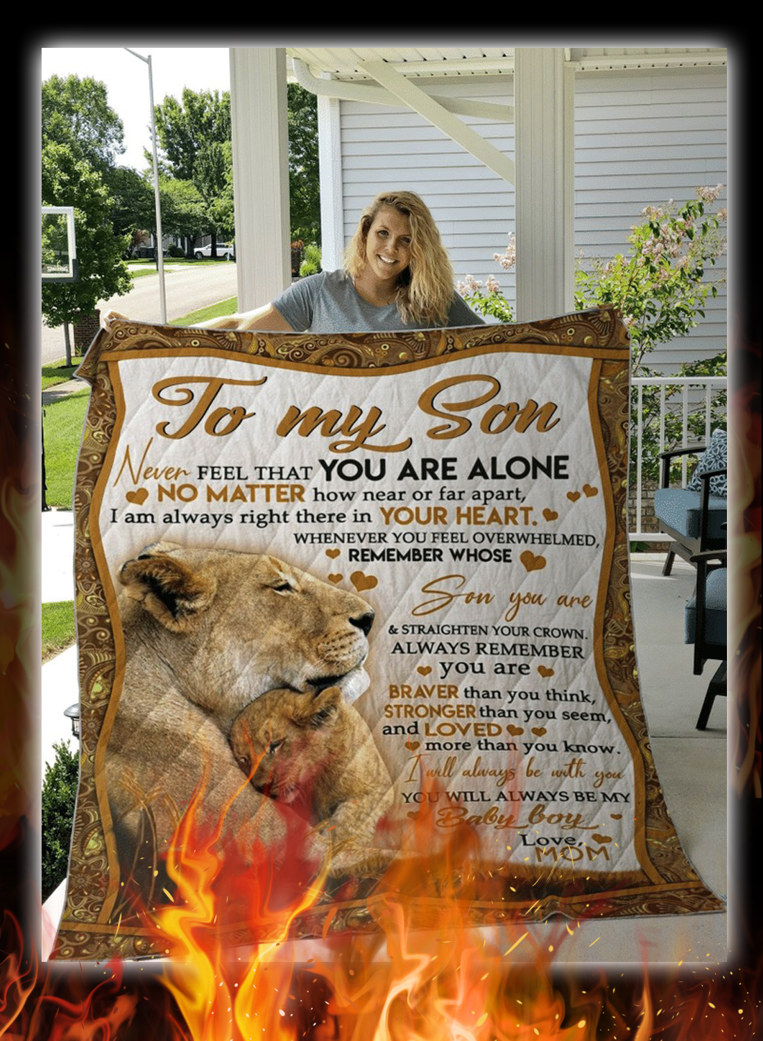 Lion to my son love mom quilt