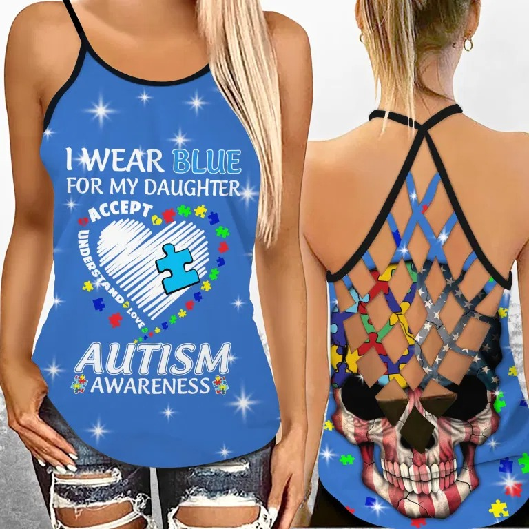 I wear blue autism awareness custom name Strappy tank top