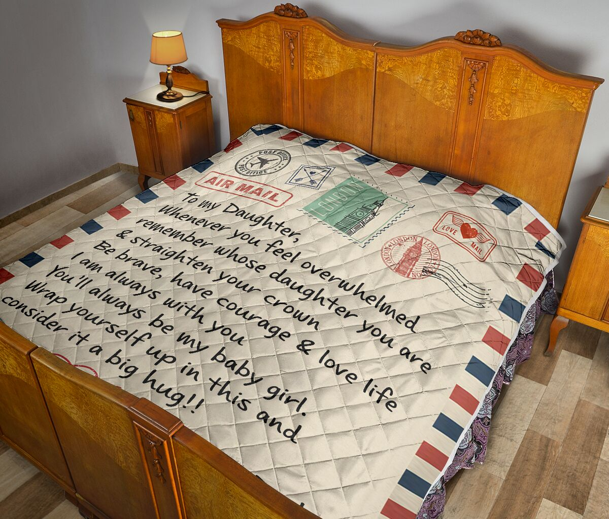 Letter air mail to my daughter love dad quilt