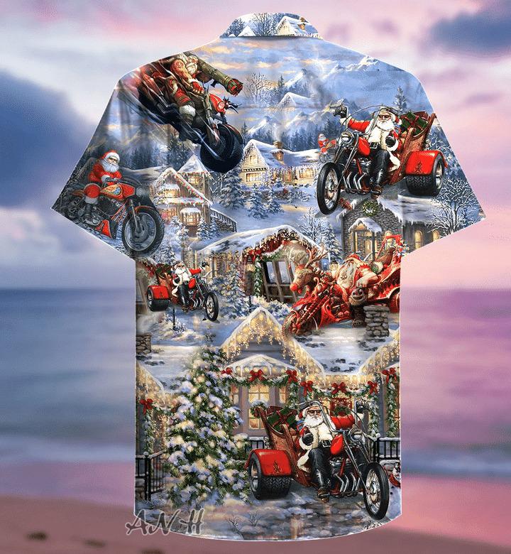 Amazing santa biker hawaiian shirt