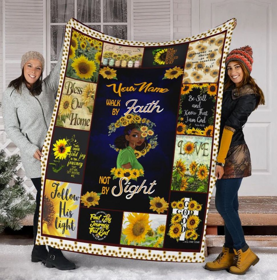 Personalized sunflower walk by faith not by sight quilt 1