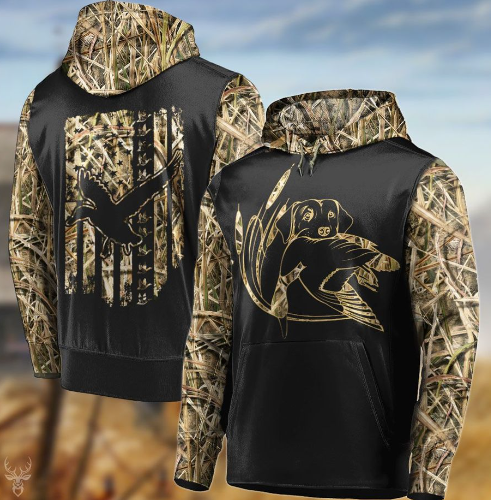 Duck hunting all over printed 3D hoodie