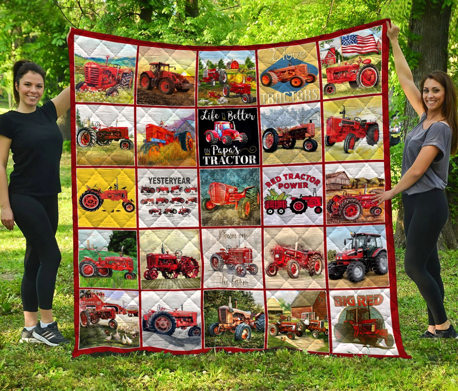 red tractor quilt