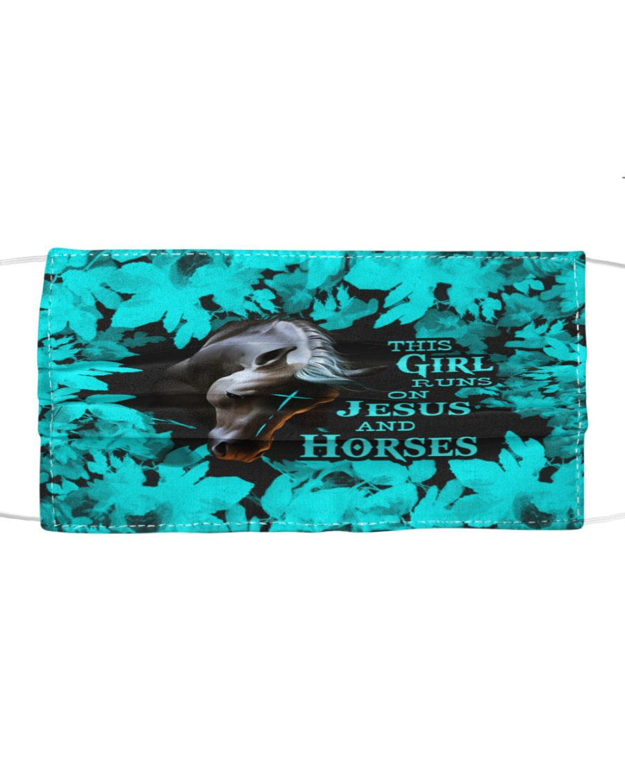 The girl runs on jesus and horses face mask 2
