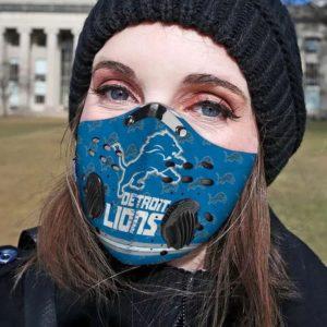 Detroit lions filter face mask